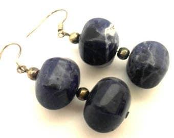 Vintage Handmade  Dark Blue Russian Blue Sadolite Facet Gemstone Long Beaded Earrings
