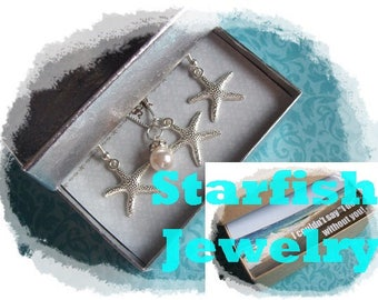 1 STARFISH NECKLACE & EARRINGS set--- Silver Starfish Necklace, Silver Starfish Earrings, Beach Wedding, Starfish Necklace, Starfish Jewelry