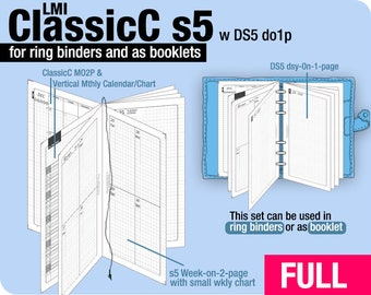 FULL [PERSONAL ClassicC S5 with DS5 do1p] January to December 2018 - Filofax Inserts Refills Printable Binder Planner Midori.
