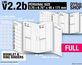 FULL [PERSONAL v2.2b w ds1 do1p] January to December 2018 - Filofax Inserts Refills Printable Binder Planner Midori.