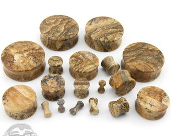 "Picture Jasper Stone Plugs Sizes / Gauges (8G - 1 & 1/4"" Inch)"