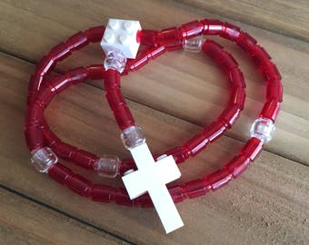Rosary made of Lego Bricks - Translucent Red, Clear & White Catholic Rosary