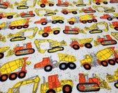 Construction Truck Flannel Fabric | Boy Fabric | Orange Yellow White Gray | Construction Crew Birthday