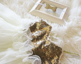Baby Girl First Birthday Outfit- Baby Dress- Tutu dress, Birthday Outfit Girl- first birthday outfit- 1st birthday outfit- gold sequin dress