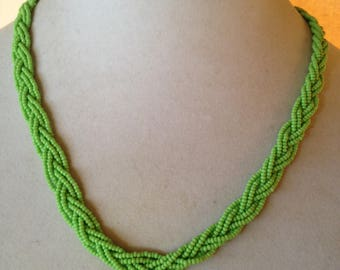 Lime green,braided necklace,beaded necklace,statement necklace,green jewelry,green necklace,modern necklace,seed beaded jewelry,gift for her