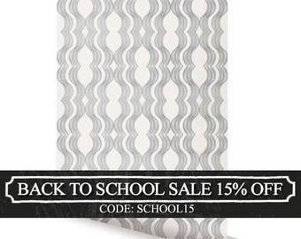 Wave Grey Peel & Stick Fabric Wallpaper Repositionable