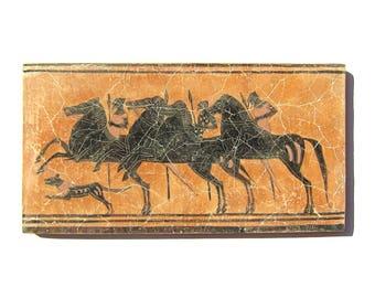 Black figure Greek Hunters  fresco painting   , Museum quality art  gift for him
