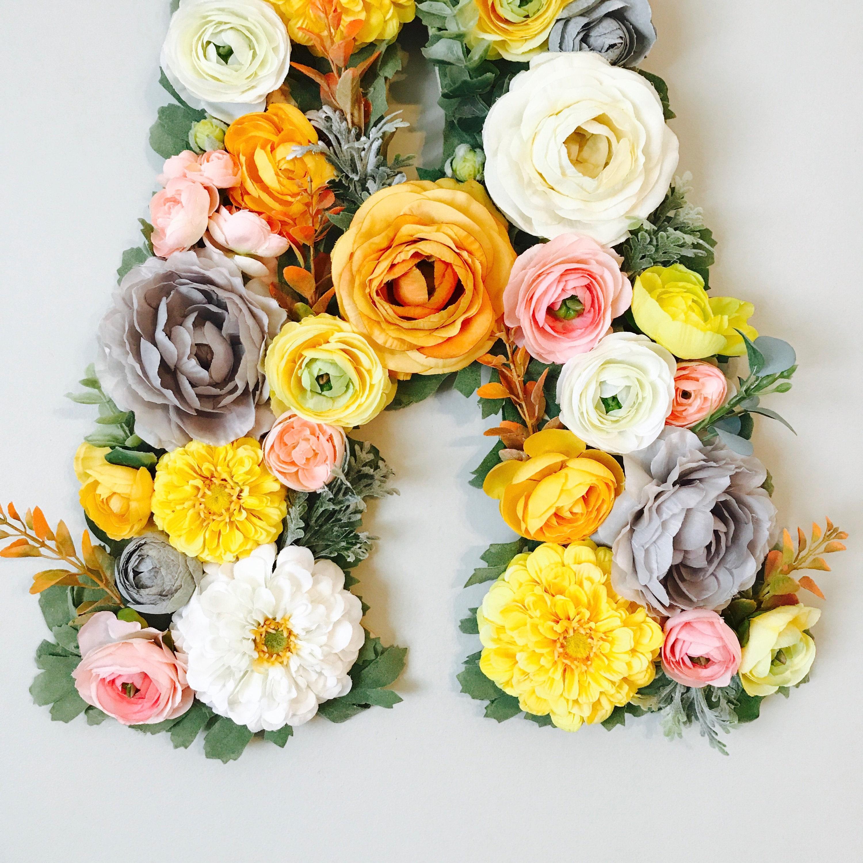 Floral Letter, Nursery Letter, Flower Letter, Wall Hanging, Floral ...