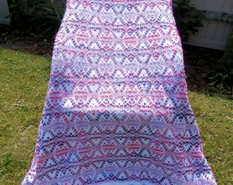 """Swedish Weave on white monk's cloth """"Plum Pudding"""" afghan~throw blanket"""
