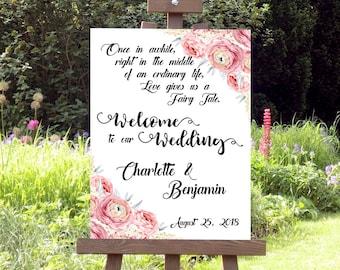 Fairytale Wedding Sign, Welcome Wedding Sign, Digitalprint, Personalized, Custom Wedding Board