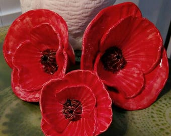 Poppies, Red Ceramic Flowers, Handmade, Table Decoration, Garden Decoration, Anzac Gift. Small, Medium and Large.