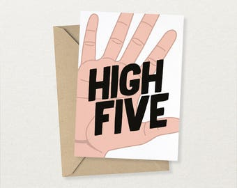 HIGH FIVE - Congratulations Card - Motivational card - Any occasion card - Congrats card - Free UK Delivery