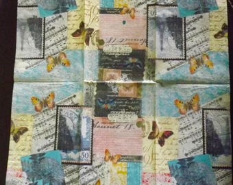2 napkins retro 40 x 33 cm butterflies and notes music
