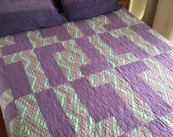 Modern Quilt In Purple  | Queen Bed Quilt