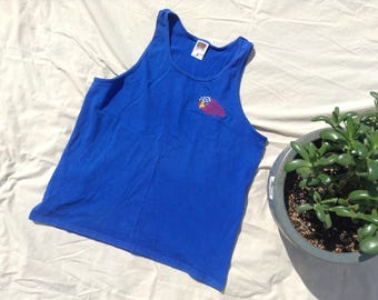 Vintage Tank Top w/ Embroidered Stars and Stripes Eagle on Chest