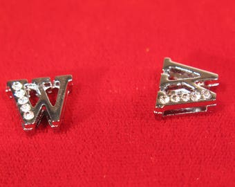 """10pc """"letter W"""" 8mm slide charms in antique style silver (BC1375-W)"""