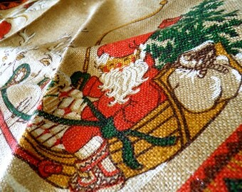 """Mid Century Swedish 39"""" x 39"""" Square Burlap Christmas Tree Skirt/Table Cloth--Hand Painted Santa + Reindeer--Excellent Condition"""