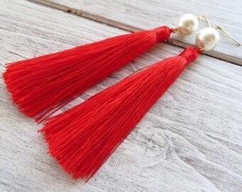 Red tassel earrings, statement earrings, extra long earrings, silk fringe earrings, white pearl earrings, dangle earrings, wedding jewelry