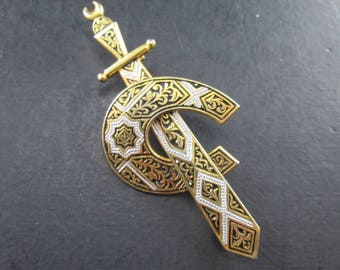 Vintage Damascene Toledo Style Gold Tone Sword and Horseshoe Brooch Pin