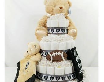 Raiders inspired Diaper Cake  Football Diaper Cakes  Raiders Baby Shower Gifts  Baby Gifts  Centerpieces  Baby Shower Gifts  Baby Cake  Bear