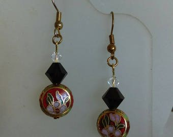 Cloisonne Red Dangles