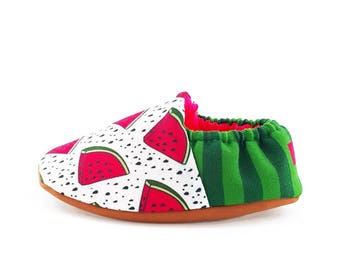 Watermelon Soft Soled Baby Shoes | Fabric Baby Shoes | Handmade Baby Booties | Prewalker Shoes | Non Slip Baby Shoes