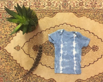 3 FOR 25 DOLLARS ~ Natural Hand dyed OOAK Indigo 3-6 Month Tee