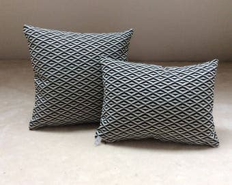 Graphic black and white fabric pillow