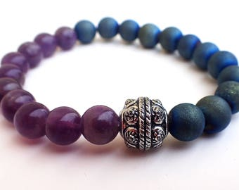 Amethyst bracelet, Agate bracelet , Beaded bracelet , Healing bracelet , Gift for her , Gift womans , Amethyst woman , Agate woman