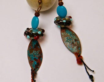 "Rustic earrings ""Sweet flowers"", patinated copper, Lampwork, wool, natural stone"