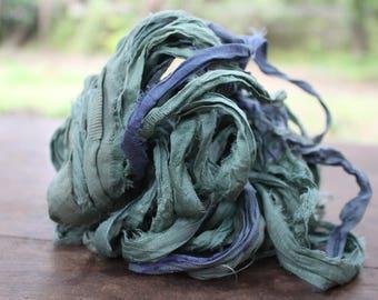 Recycled Sari silk ribbon - Calm 71