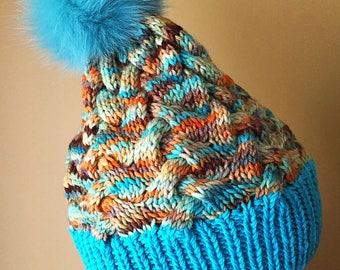 Real Fur Pom Pom Hand Knit Hat 100% Merino Wool