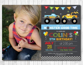 Monster Truck Invitation, Monster truck invite, monster truck birthday, monster truck party, Photo Invitation, Printable