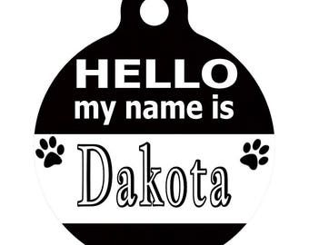 Personalized Round Pet ID Tag-In Black & White | Custom Pet ID Tag | Dog Collar Name Tag | Double Sided | HELLO my name is