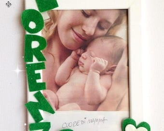 Photo frame with felt animals and decorations- Personal name and text
