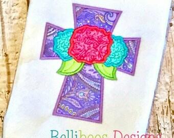 Cross Applique Design - Flower Applique Design - Easter Applique Design - Easter embroidery Design - Religious Applique design