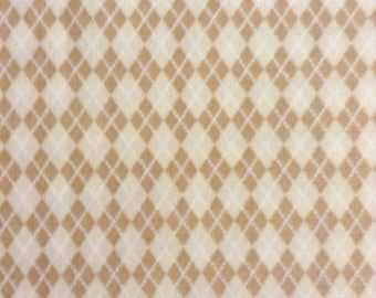 TWO Fat Quarters of Fabric Material - Tan and Cream Argyle