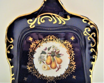 Vintage Cobalt Blue Porcelain Butler/Crumb Tray/Pan- Pear  - Formalities Baum Bros. - Sweet - Excellent Condition!!