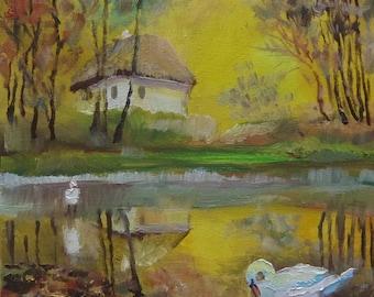 Picture Art Original Oil Painting-Lake Swans Village Autumn