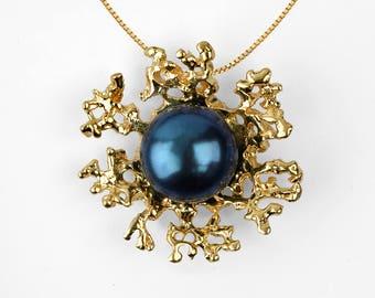 CORAL Gold Black Pearl Necklace Wedding, Bridal Jewelry Pearl, Bridal Pearl Necklace Pendant, Gold Pearl Necklace Gold, Unique Pearl Pendant