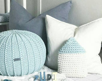 Mint green floor pouf ottoman knitted pouf knit pouf nursery decor, knitted ottoman footstool nursery pouffe baby pouffe ZURI