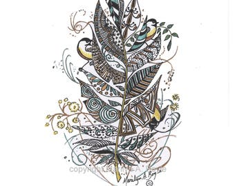 PRINT MUSICAL NOTES, Zentangle feather,chickadees, colored Variation #7, metallic inks,blue,copper, gold,silver, one of a kind,8.5x11 inches