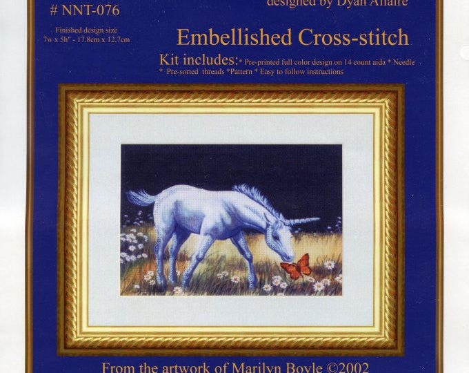 EMBELLISHED CROSS STITCH; baby unicorn and butterfly, 5 x 7 inch, pre-printed color design,