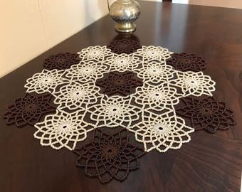 Hand Made, Cream & Brown,Crochet Beaded Doily