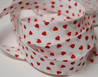 Sewing bias folded 2cm pattern red heart cotton white (m) ref: BIAI02