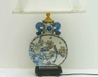 Vintage Lamp Blue and White Ceramic Hand Painted Bird Floral Art Nouveau Lighting Mid Century Light Asian Oriental  Desk Lamp Bedside Lamp