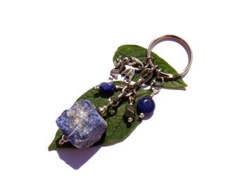 Jewelry bag/door key rocks and bead of Lapis Lazuli and Pyrite charm Dragon 9 cm in height