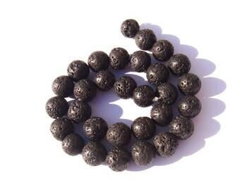 4 12 mm black lava stone beads