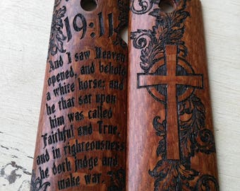 1911 Grips Revelation 19:11 Leopard Wood Fits Colt, Kimber, Rock Island