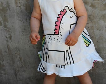 organic baby dress . toddler dress . organic baby . organic toddler dress . unicorn dress . unicorn .  girls clothing .  flutter dress